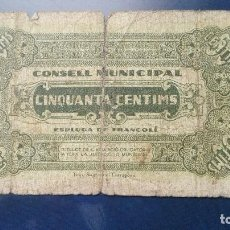 Billetes locales: 50 CÉNTIMOS ESPLUGA DE FRANCOLI. Lote 86472072