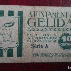 Billetes locales: GELIDA 10 CÉNTIMOS 1937. Lote 86484012
