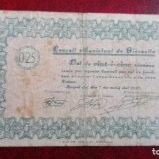 Billetes locales: 25 CÉNTIMOS GIRONELLA, 1937. Lote 86484128