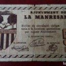 Billetes locales: 50 CÉNTIMOS LA MANRESANA,1937. Lote 86487660