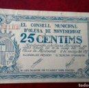 Billetes locales: OLESA DE MONTSERRAT 25 CÉNTIMOS, SEPT 1937. Lote 86489392