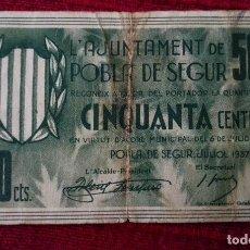Billetes locales: POBLA DE SEGUR 50 CÉNTIMOS JULIO 1937. Lote 86494404