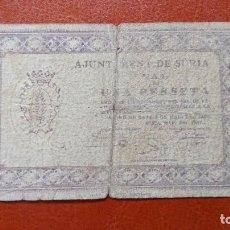 Billetes locales: SURIA 1 PESETA 1937. Lote 86532656