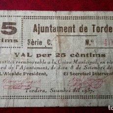 Billetes locales: TORDERA 25 CÉNTIMOS, SEPTIEMBRE 1937. Lote 86647384
