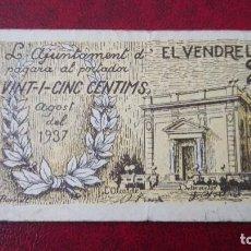 Billetes locales: EL VENDRELL 25 CÉNTIMOS, 1937. Lote 86650860