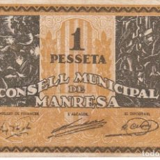 Billetes locales: BILLETE DE 1 PESETA DEL CONSELL MUNICIPAL DE MANRESA DEL AÑO 1937 SERIE A. Lote 86805416