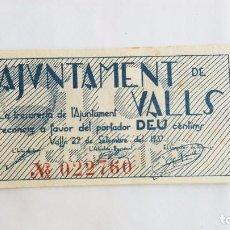 Billetes locales: BILLETE 10 CENTIMOS AJUNTAMENT DE VALLS T-3110 EBC. Lote 86876024