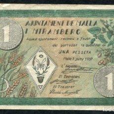 Billetes locales: MALLA I MIRAMBERC (BARCELONA) - 1 PESETA 1937. Lote 86904908