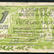 Billetes locales: RIUDOR DE BAGES (BARCELONA) - 1 PESETA 1937. Lote 86909600