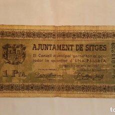 Billetes locales: BILLETE 1 PESETA AJUNTAMENT DE SITGES T-2758 (NO ES FALSO). Lote 87031080