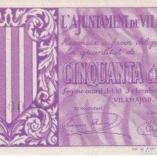 Billetes locales: BILLETE DE 50 CENTIMOS DEL AJUNTAMENT DE VILAMAJOR DEL AÑO 1937 (SIN CIRCULAR) . Lote 87226476
