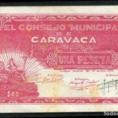 Billetes locales: CARAVACA (MURCIA) - 1 PESETA 1937 SERIE D S/C MANCHITAS. Lote 87355852