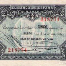 Billetes locales: BILLETE GUERRA CIVIL BILBAO 5 PESETAS. Lote 87530992