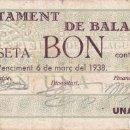 Billetes locales: BILLETE DE 1 PESETA DEL AJUNTAMENT DE BALAGUER DEL AÑO 1937 (SELLO SECO) . Lote 88184164