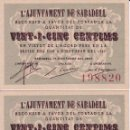 Billetes locales: PAREJA CORRELATIVA DE 25 CENTIMOS DEL AJUNTAMENT DE SABADELL SIN CIRCULAR . Lote 88186228