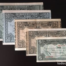 Billetes locales: SET 5 BILLETES BILBAO 5,10,25,50,100 DE 1937 REF 8425. Lote 97730447