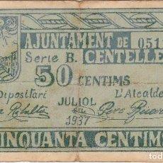 Billetes locales: BILLETE DE 50 CENTIMOS DEL AJUNTAMENT DE CENTELLES DEL AÑO 1937. Lote 88393436