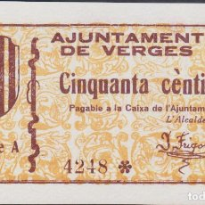 Billetes locales: BILLETES LOCALES -VERGES - GIRONA - 50 CTS. - SERIE A 4246 - S/F. - T-3150 (SC). Lote 173079840