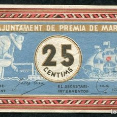 Billetes locales: PREMIA DE MAR (BARCELONA) - 25 CENTIMOS 1937. Lote 89767240