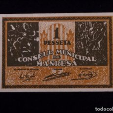 Billetes locales: 1 PESETA BILLETE CONSELL MUNICIPAL DE MANRESA. Lote 90947295