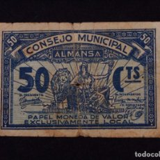Billetes locales: 50 CÉNTIMOS BILLETE CONSEJO MUNICIPAL ALMANSA. Lote 90953465