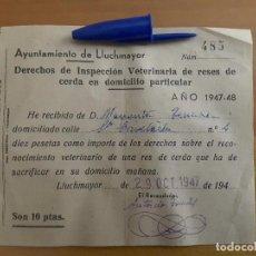 Billetes locales: VALE DE 10 PTS INSPECCIÓN VETERINARIA DE LLUCHMAYOR - AÑO 1947. Lote 91644235