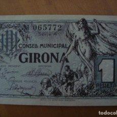 Billetes locales: BILLETE 1 PESETA CONSELL MUNICIPAL GIRONA 1937 SIN CIRCULAR. Lote 92124309