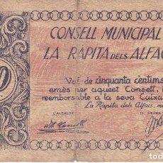 Billetes locales: BILLETE DE 50 CENTIMOS DEL CONSELL MUNICIPAL DE LA RAPITA DELS ALFACS DEL AÑO 1937. Lote 93021930