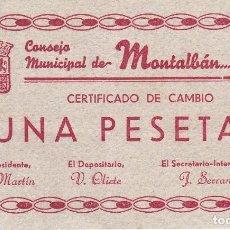 Billetes locales: BILLETE DE 1 PESETA DEL CONSEJO MUNICIPAL DE MONTALBAN DEL AÑO 1937 (RRR). Lote 93022725