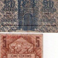 Billetes locales: LOTE 2 BILLETES DE LA GUERRA CIVIL BARCELONA. Lote 94332638