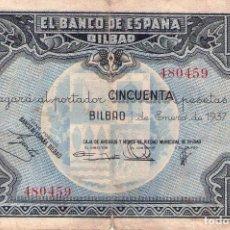 Billetes locales: BILLETE 50 PESETAS DE BILBAO DE 1937. Lote 94332910