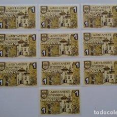 Billetes locales: EL VENDRELL. TARRAGONA. LOTE DE 10 BILLETES 1 PESETA. SC O SC-. . Lote 95030687