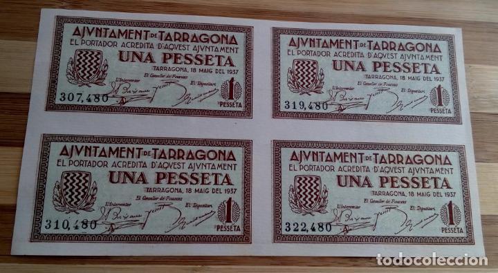 INTERESANTE JUEGO COMPLETO DE 1 PESETA UNA PESSETA AÑO 1937 TARRAGONA PLIEGO DE 4 SIN CORTAR (Numismática - Notafilia - Billetes Locales)