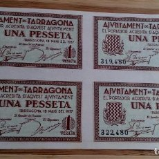 Billetes locales: INTERESANTE JUEGO COMPLETO DE 1 PESETA UNA PESSETA AÑO 1937 TARRAGONA PLIEGO DE 4 SIN CORTAR. Lote 95184312