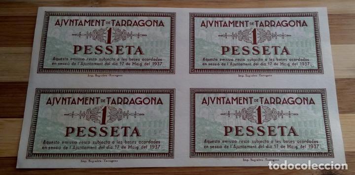 Billetes locales: INTERESANTE JUEGO COMPLETO DE 1 PESETA UNA PESSETA AÑO 1937 TARRAGONA PLIEGO DE 4 SIN CORTAR - Foto 2 - 95184312
