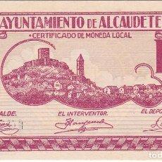 Billetes locales: BILLETE DE 2 PESETAS DEL AYUNTAMIENTO DE ALCAUDETE DEL AÑO 1937 SIN CIRCULAR . Lote 102795004