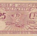 Billetes locales: BILLETE DE 25 CENTIMOS DEL CONSEJO MUNICIPAL DE ALBACETE DEL AÑO 1937 CON SELLO SECO. Lote 97135019