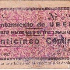 Billetes locales: BILLETE DE 25 CENTIMOS DEL AYUNTAMIENTO DE UBEDA (JAEN) DEL AÑO 1937 (RARO). Lote 97136599