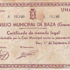 Billetes locales: BILLETE DE 1 PESETA DEL CONSEJO MUNICIPAL DE BAZA (GRANADA) DEL AÑO 1937 . Lote 97141603