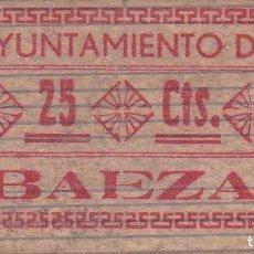 Billetes locales: BILLETE DE 25 CENTIMOS DEL AYUNTAMIENTO DE BAEZA (JAEN) DEL AÑO 1937 - MUY RARO. Lote 97142639