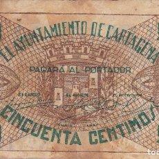 Billets locaux: BILLETE DE 50 CENTIMOS DEL AYUNTAMIENTO DE CARTAGENA DEL AÑO 1937. Lote 97143515