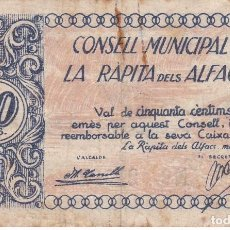 Billetes locales: BILLETE DE 50 CENTIMOS DEL CONSELL MUNICIPAL DE LA RAPITA DELS ALFACS DEL AÑO 1937 . Lote 97230367