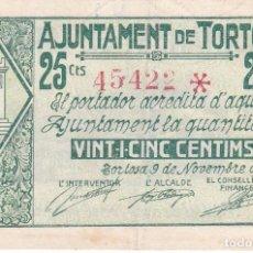 Billetes locales: BILLETE DE 25 CENTIMOS DEL AJUNTAMENT DE TORTOSA DEL AÑO 1937 . Lote 97245495