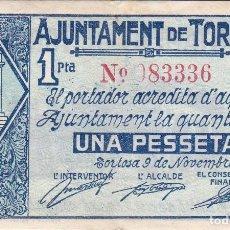 Billetes locales: BILLETE DE 1 PESETA DEL AJUNTAMENT DE TORTOSA DEL AÑO 1937 . Lote 97245559