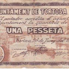 Billetes locales: BILLETE DE 1 PESETA DEL AJUNTAMENT DE TORTOSA DEL AÑO 1937 CON SELLO SECO (CELO). Lote 97245723
