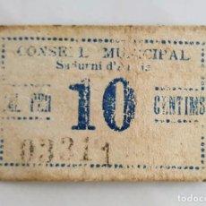 Billetes locales: BILLETE CARTON 10 CENTIMOS CONSEJO MUNICIPAL DE SADURNI D'ANOIA T-2586 - RR. Lote 96552607