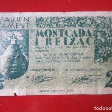 Billetes locales: BILLETE DE 25 CENTIMOS DEL AJUNTAMENT DE MONTCADA I REIXAC. 1937. Lote 97711519
