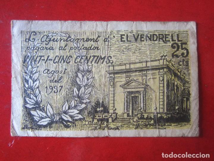 BILLETE DE 25 CENTIMOS DEL AJUNTAMENT DE VENDREL. 1937 (Numismática - Notafilia - Billetes Locales)