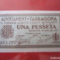 Billetes locales: BILLETE DE 1 PESETA DEL AYUNTAMIENTO DE TARRAGONA. 18/5/1937. Lote 97993507