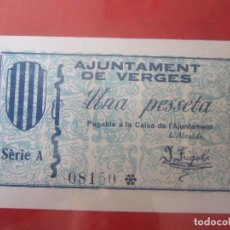 Billetes locales: BILLETE DE 1 PESETA DEL AJUNTAMENT DE VERGES.. Lote 97996027